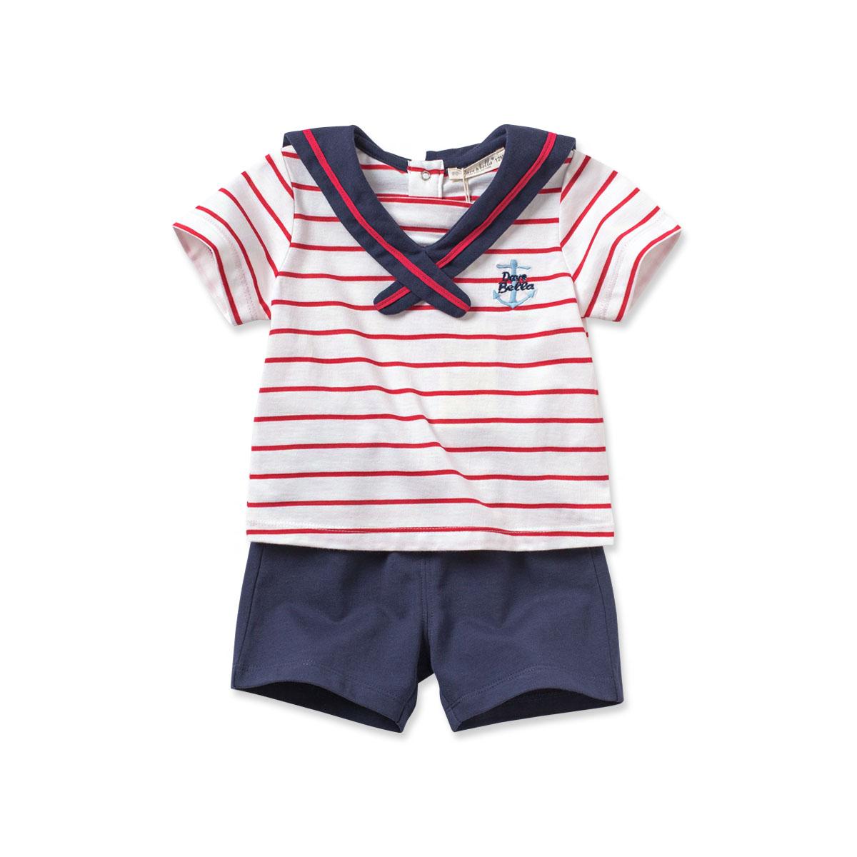 davebella戴维贝拉夏装海军风纯棉套装儿童条纹套装 DB2612