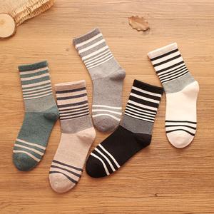 男士袜子中筒秋冬季中腰纯棉条纹厚男袜吸汗防臭全棉长袜高筒棉袜