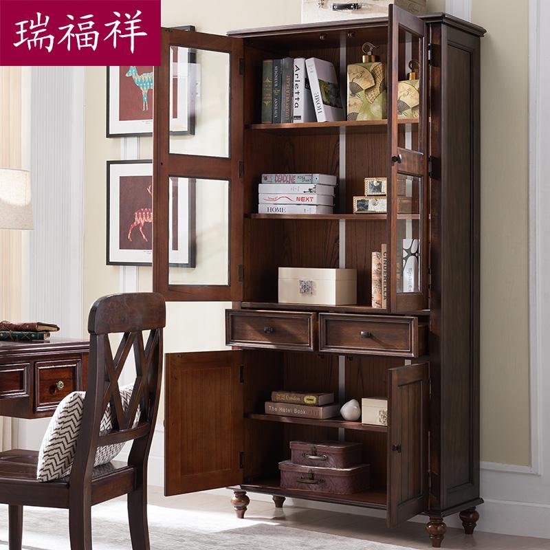 瑞福祥美式双门实木玻璃门书柜书橱欧式简约置物柜展示柜AI310C