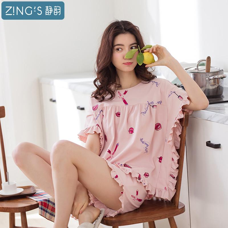静韵2018夏季新款睡衣女纯棉短袖女人套装宽松甜美可爱少女家居服