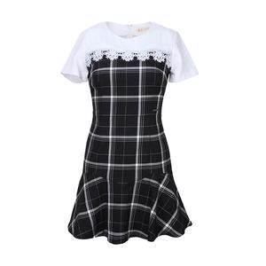 专柜现货ELAND衣恋夏季蕾丝格纹拼接连衣裙EEOW52352M正品