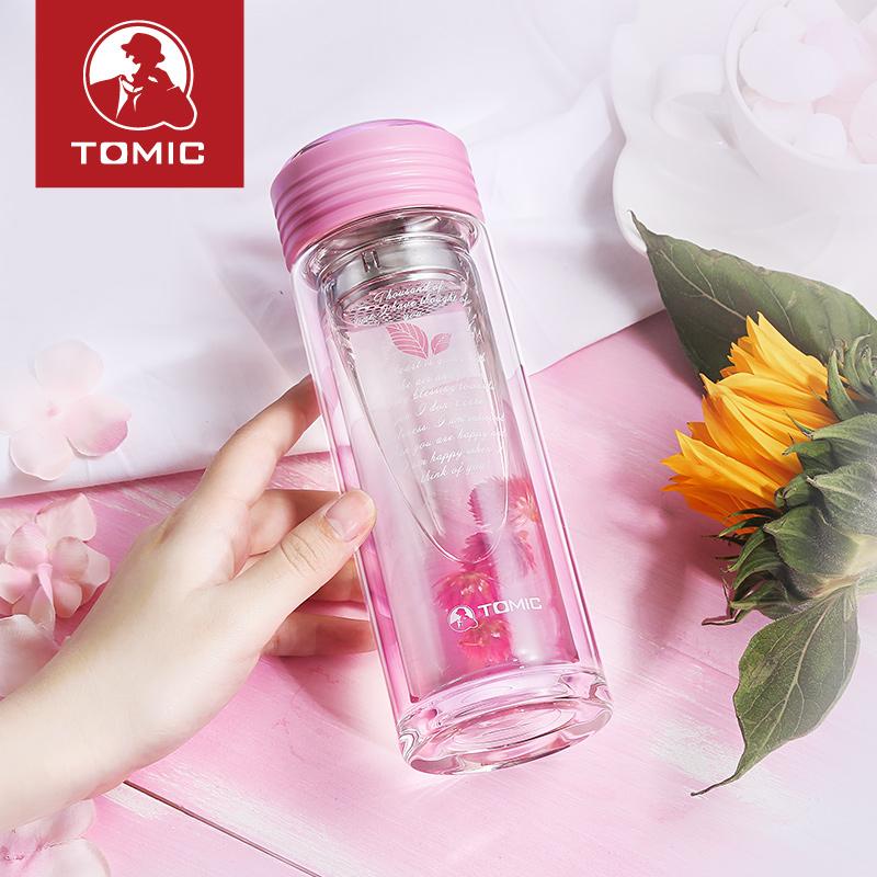 特美刻双层玻璃杯耐热带盖过滤创意透明水杯子泡茶杯花茶杯子