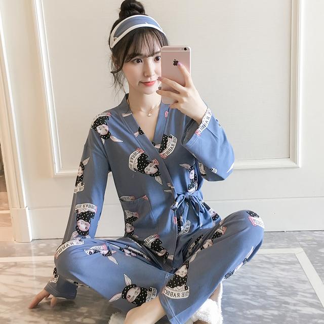 可外穿睡衣女春秋韩版纯棉长袖和服两件套家居服闺蜜装加大码睡袍