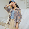 Real Shot Autumn And Winter Loose Bf Wool Plaid Shirt Female Long Sleeve Bottoming Shirt Jacket
