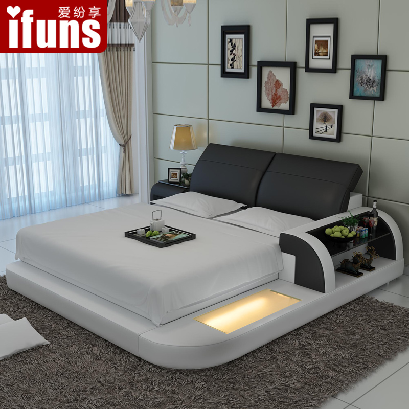 love to enjoy the skin tattoo bed tatami bed cow leather bed main bedroom small size double