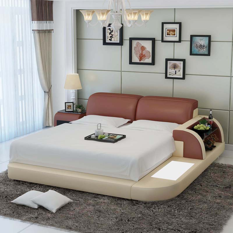 love and enjoy the tatami bed cattle leather bed master bedroom double bed 18 m wedding bed