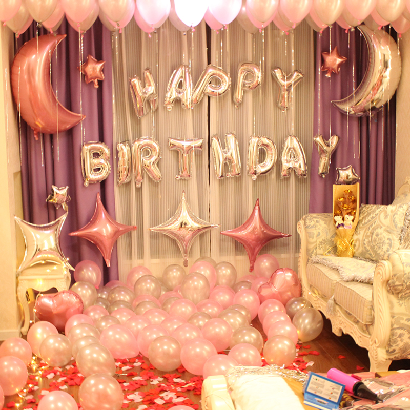 Birthday Decorations Party Layout Surprise Boyfriend Romantic Balloon Adult English Alphabet Theme