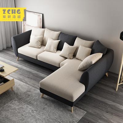 北欧现代简约转角可拆洗布艺沙发整装经济小户型客厅成套家具组合
