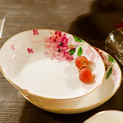 包郵 景德鎮陶瓷餐具骨瓷碗盤子碗碟碗筷組合家用碗套裝 鑲金碗盤
