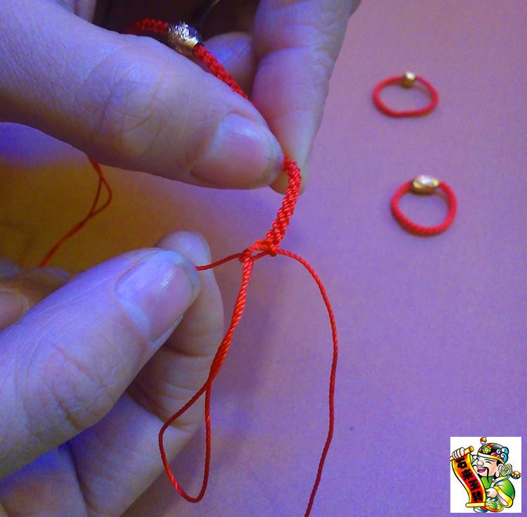 石来玉转 黄金转运珠戒指红绳 红绳戒指绳 手编红绳子 定制戒指绳