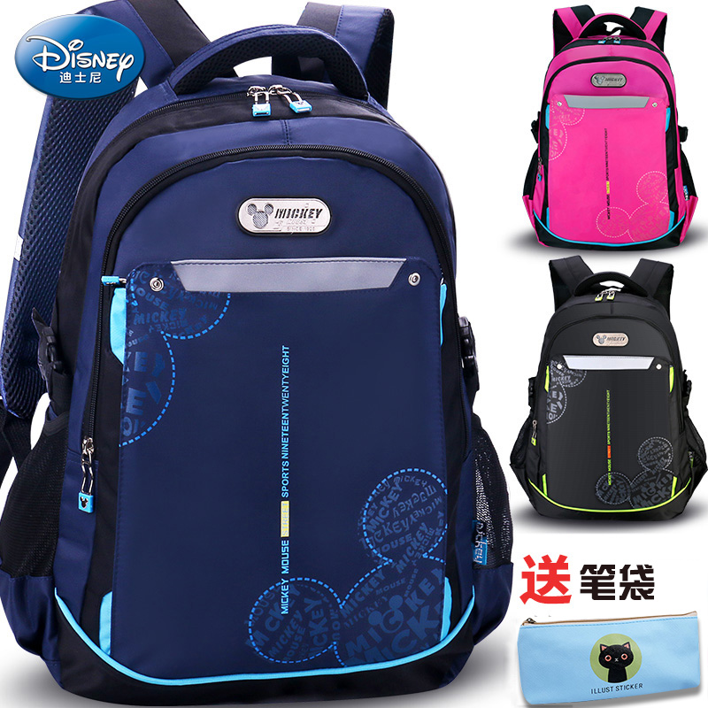 Disney schoolbag primary school boy 4-6 grade 1-3-5 three four five six female shoulder bag children Mickey bag