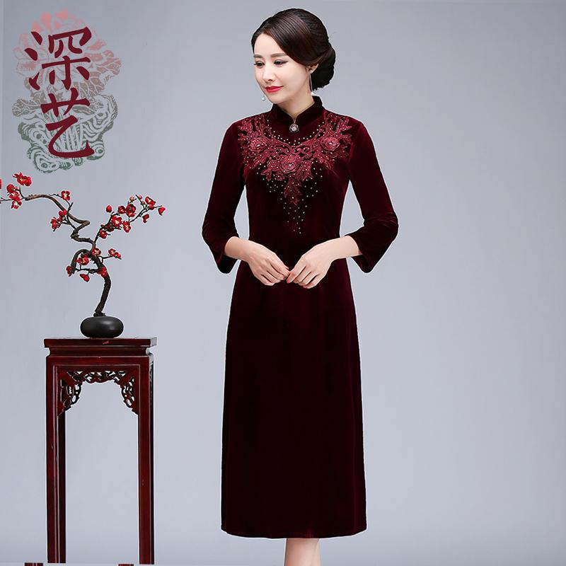 深艺新款丝绒旗袍连衣裙刺绣绣花宴会妈妈装中式复古婚礼礼服改良