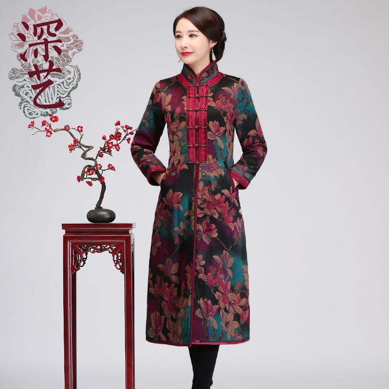 深艺真丝改良版旗袍冬女长袖端庄大气中长款夹棉旗袍加厚保暖宴会