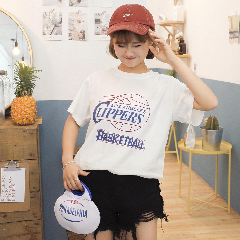快船队简约篮球字母撞色印花白色宽松纯棉短袖T恤女