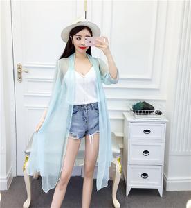 防晒衣女2018夏季新款雪纺丝皱薄款外套披肩外搭中长款防晒开衫