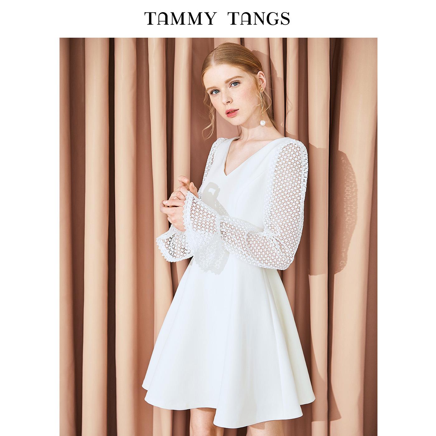 糖力2018秋装新款白色欧美镂空蕾丝拼接连衣裙女长袖高腰显瘦裙子