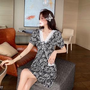 实拍夏季新款法式复古桔梗初恋裙子森系很仙的V领蕾丝雪纺连衣裙