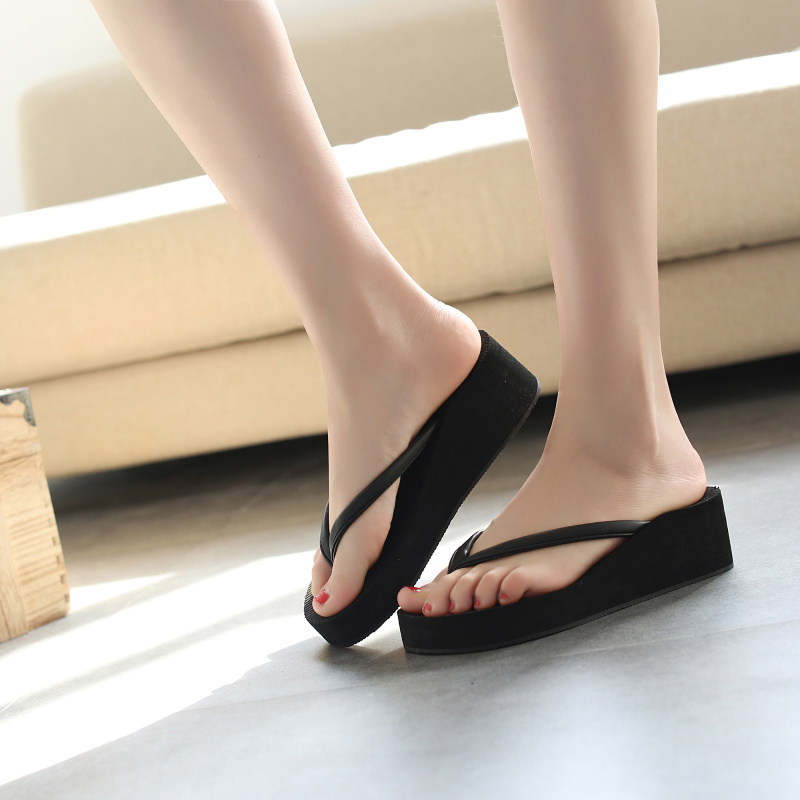 c7e8f2a757ea Summer flip flops female slip slope with solid color sandals and slippers  thick platform waterproof platform beach platform shoes flat with sandals
