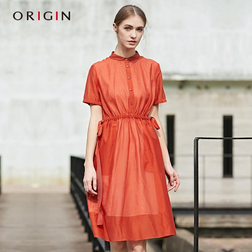 安瑞井女装2018夏季新款修身连衣裙原创优雅气质系带丝棉中长裙子