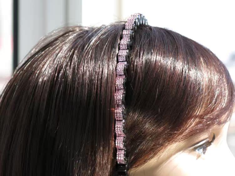 韩版时尚压发带钻树脂黑底细边发卡子女士头箍满钻发带波浪发箍发