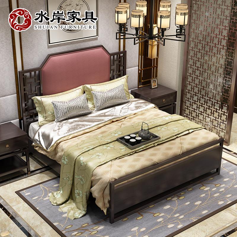 水岸新中式实木床家具现代白蜡木简约主卧禅意酒店1.8米双人婚床
