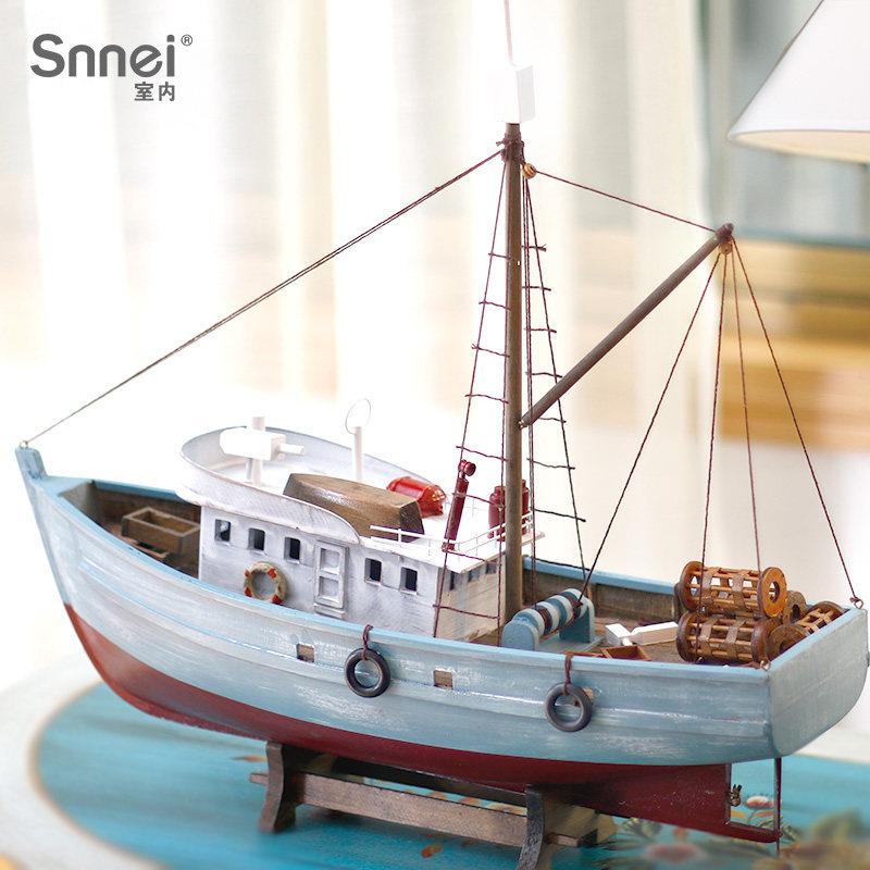 Snnei 仿真渔船模型摆件 地中海风格实木质工艺船帆船模型小船