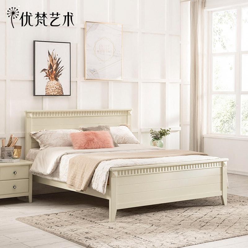 优梵艺术Meager美式松木女童床1.5米全实木男孩单人床儿童房家具