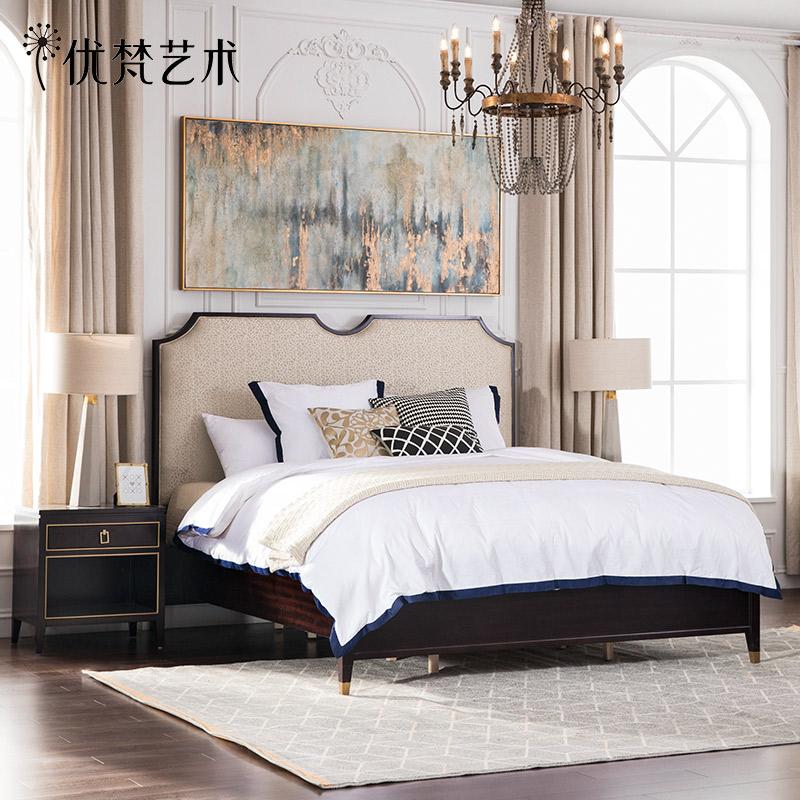 优梵艺术NAPA美式轻奢后现代双人实木脚大床简约小户型主卧室婚床