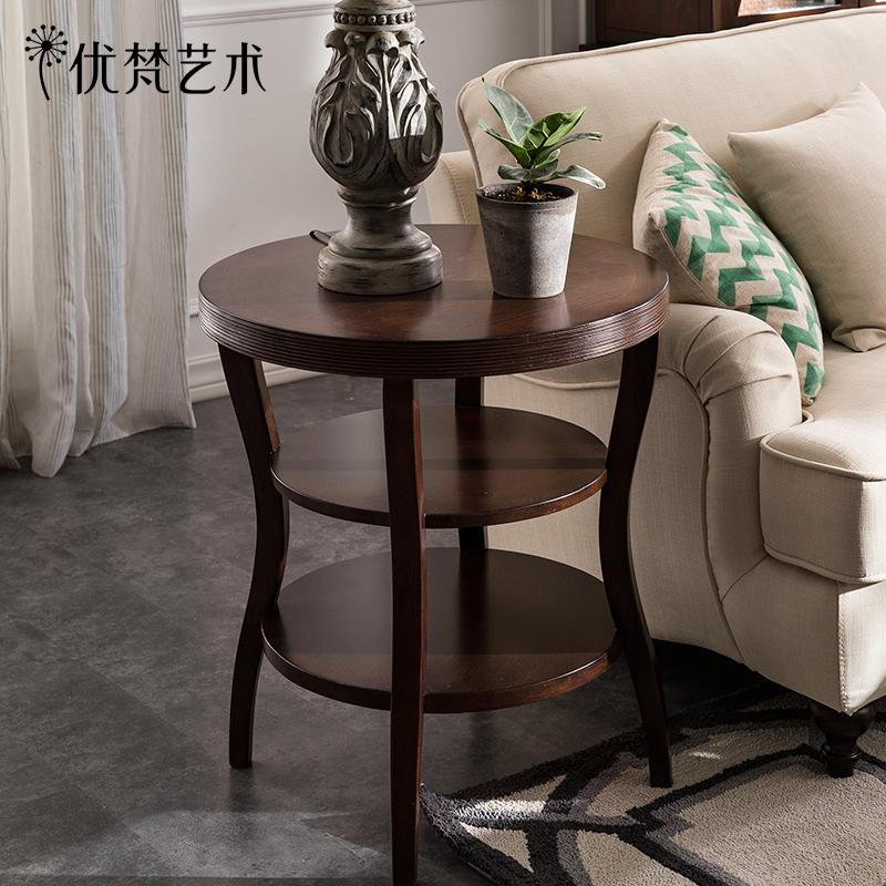 优梵艺术Carpa美式实木小茶台双层圆形沙发边几角几客厅电话架子
