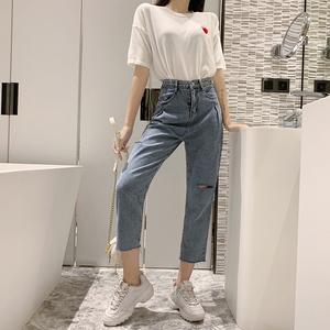 实拍 2589 港味chic时尚乞丐破洞高腰水洗牛仔裤显瘦直...