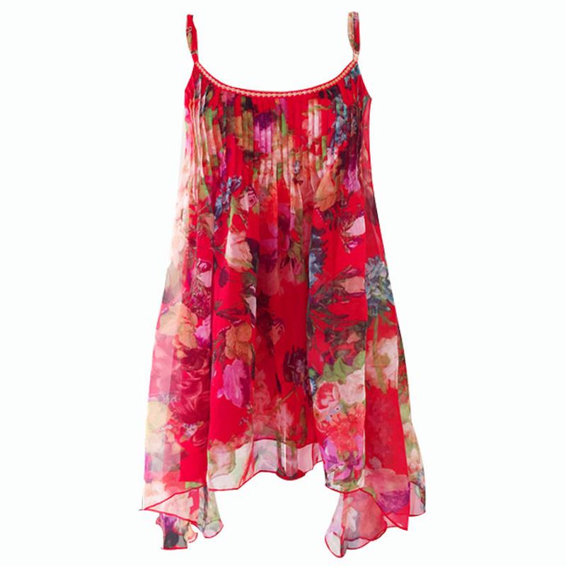 红色碎花雪纺性感吊带连衣裙优惠后20元包邮