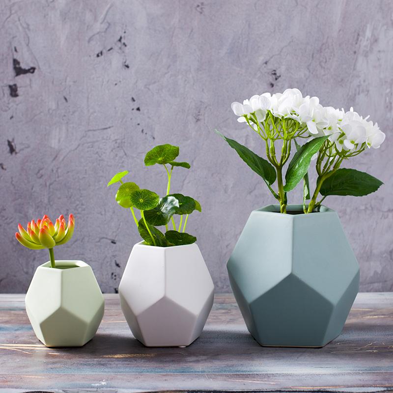 现代简约陶瓷干花花器 几何花瓶花艺客厅摆件创意北欧家居图片