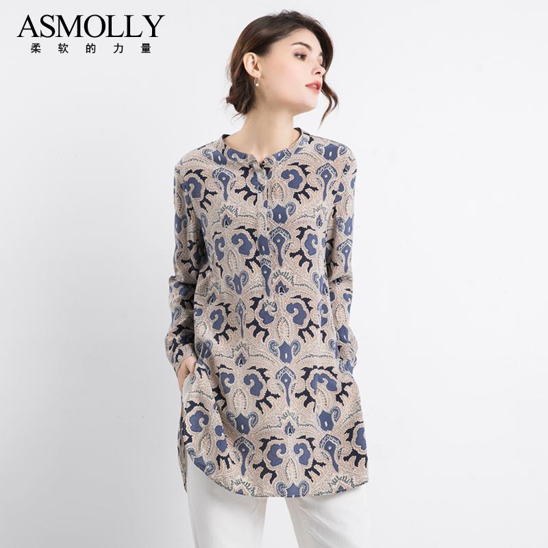 女士中长款衬衣气质复古印花桑蚕丝上衣宽松真丝衬衫女长袖设计款