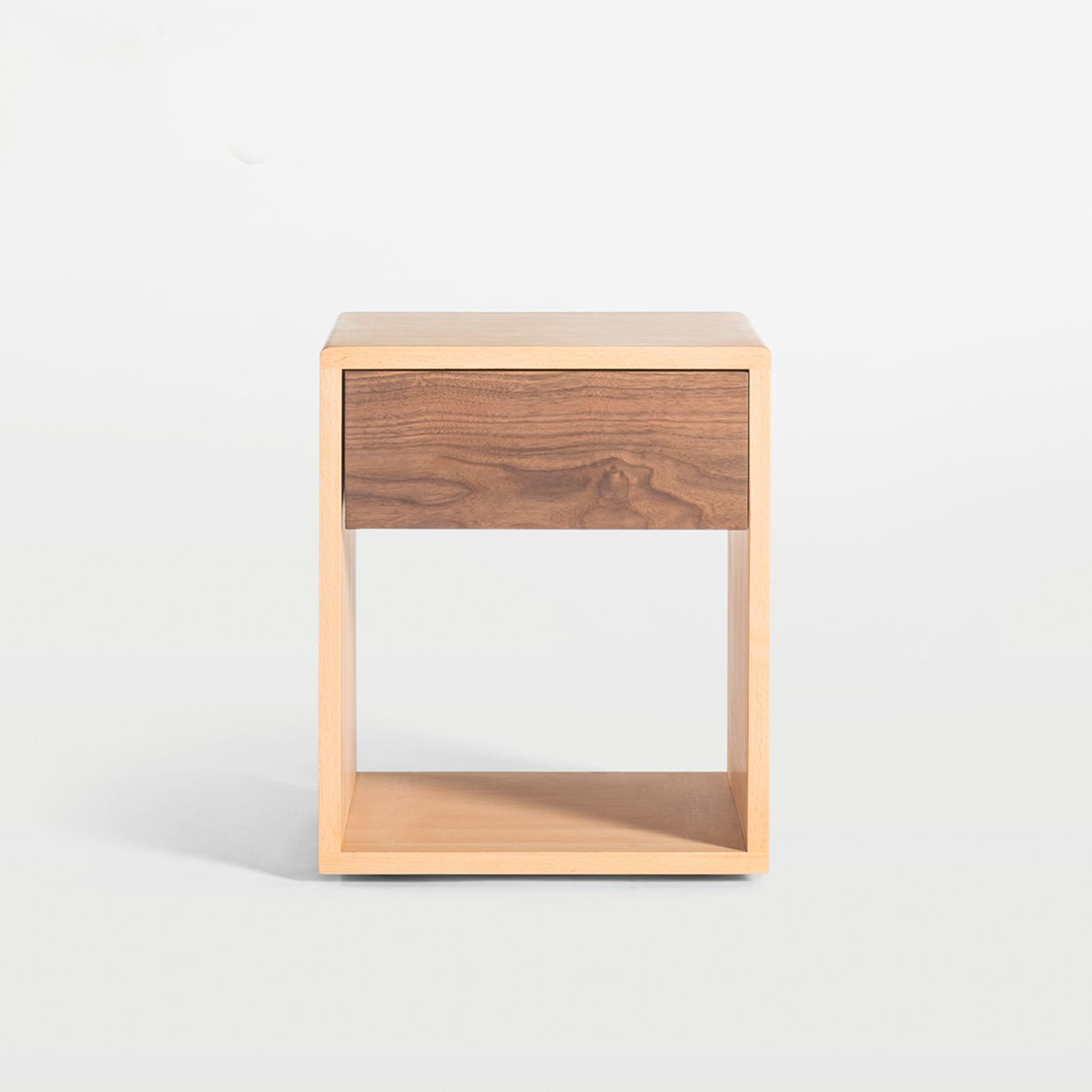及木家具 北欧设计 现代简约 榉木 白橡 黑胡桃 实木床头柜CG003