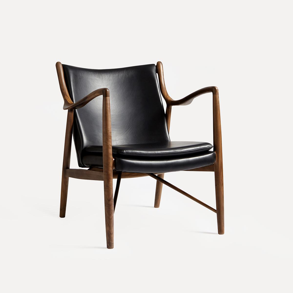 及木家具 北欧经典设计真皮沙发椅 黑胡桃 实木领地休闲椅YZ043