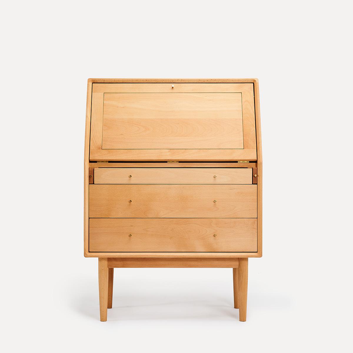 及木家具 北欧简约设计秘书柜 榉木 白橡 黑胡桃实木书桌柜DG027