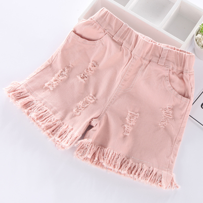 Children's sports pants Korean children's clothing girl shorts hole tassels children's hot pants summer pants 5-7-9 years old