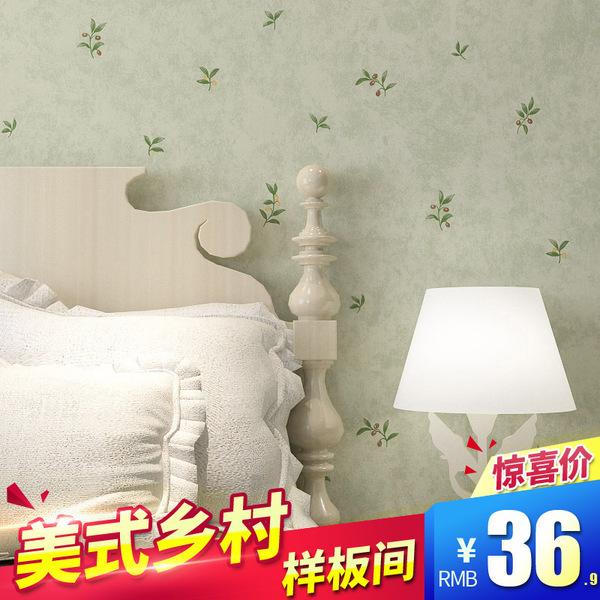 美式复古乡村壁纸清新樱桃小花无纺布墙纸浅绿田园风格卧室背景墙