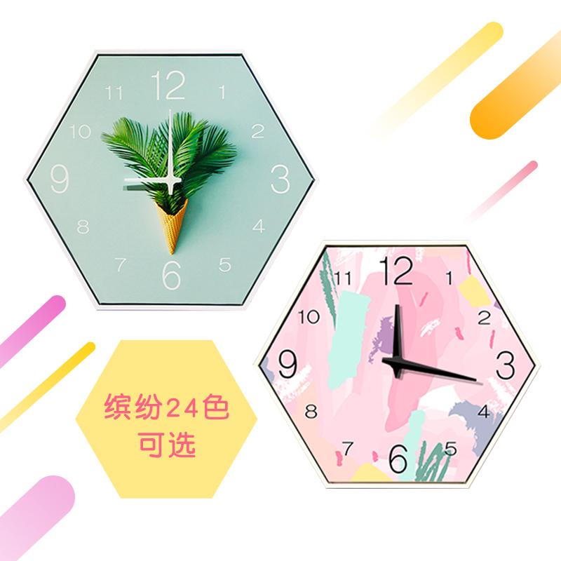 清新六边形装饰画挂钟 客厅钟表现代简约创意静音卧室时钟挂画表