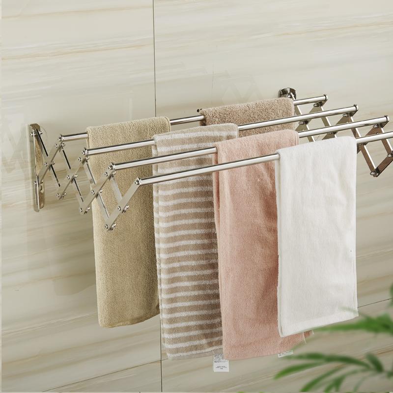 Bathroom Bathroom 304 Stainless Steel Retractable Folding Towel Bar Towel  Rack Bathroom Hardware Accessories