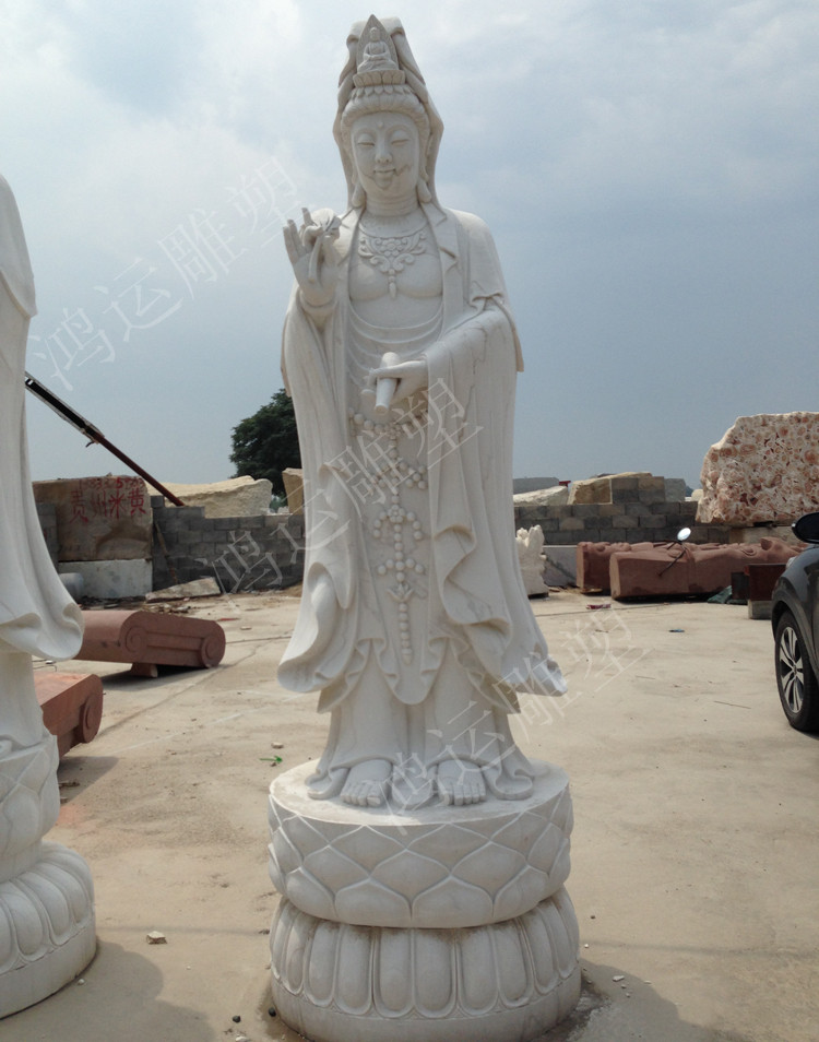 石雕观音像汉白玉滴水观音雕刻莲花底座柳枝花瓶菩萨佛像仿古雕塑