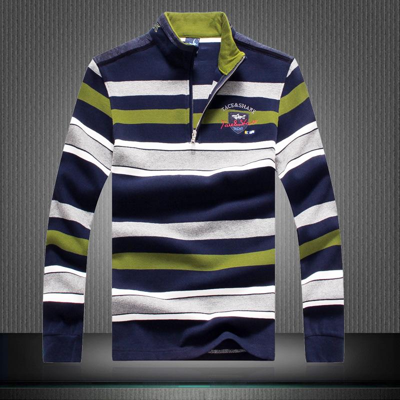 Рубашка поло Ранней весной мужской новый бизнес случайный рубашки поло длинный рукав размер лацкане осенью полосатый t рубашку мужчин рубашки поло бум