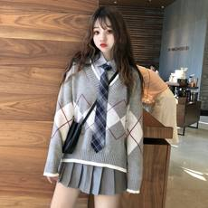 Girls Sweet College Wind V-neck Loose Sweater Jacket + Shirt with Tie + Pleated Skirt Student Set