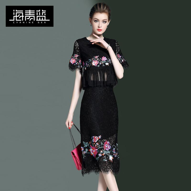 海青蓝2018春装新款女装圆领气质收腰时尚绣花钉珠时尚套装00260
