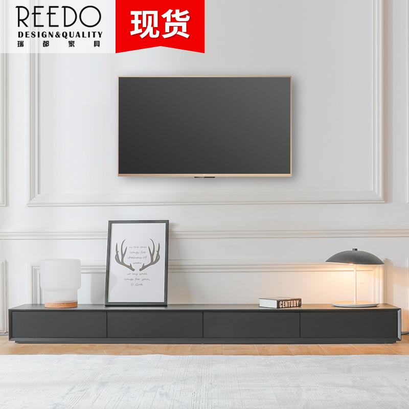 创意北欧电视柜茶几组合简约现代小户型客厅黑色电视机柜边柜定制