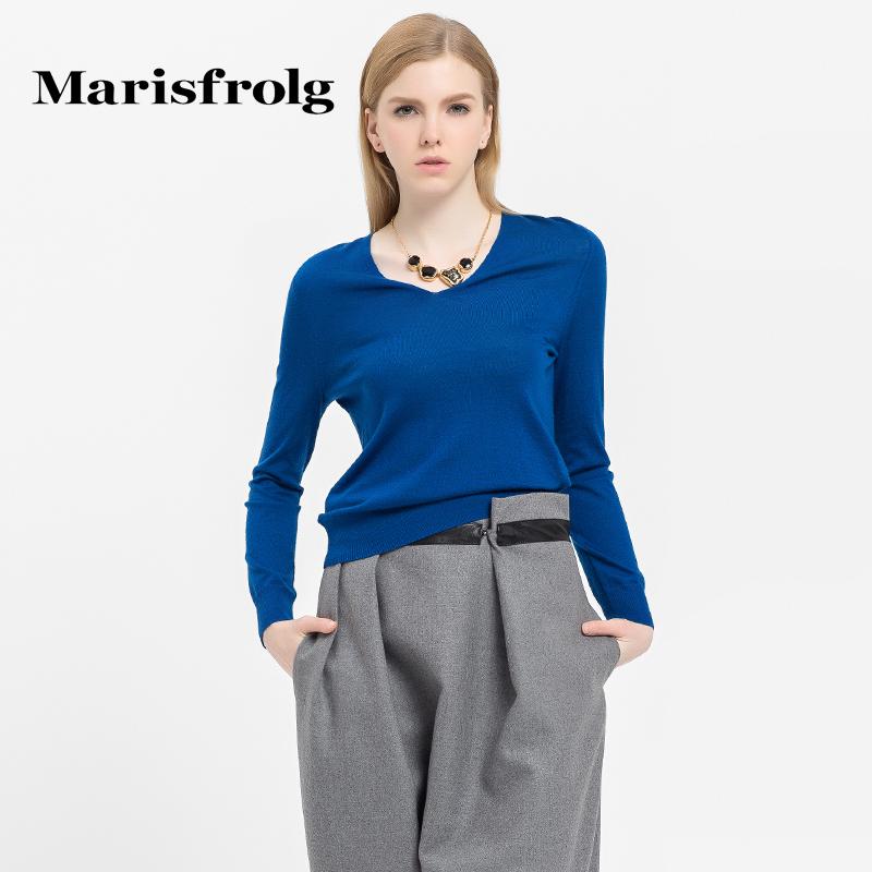 玛丝菲尔女装时尚优雅长袖山羊绒针织衫上衣专柜正品