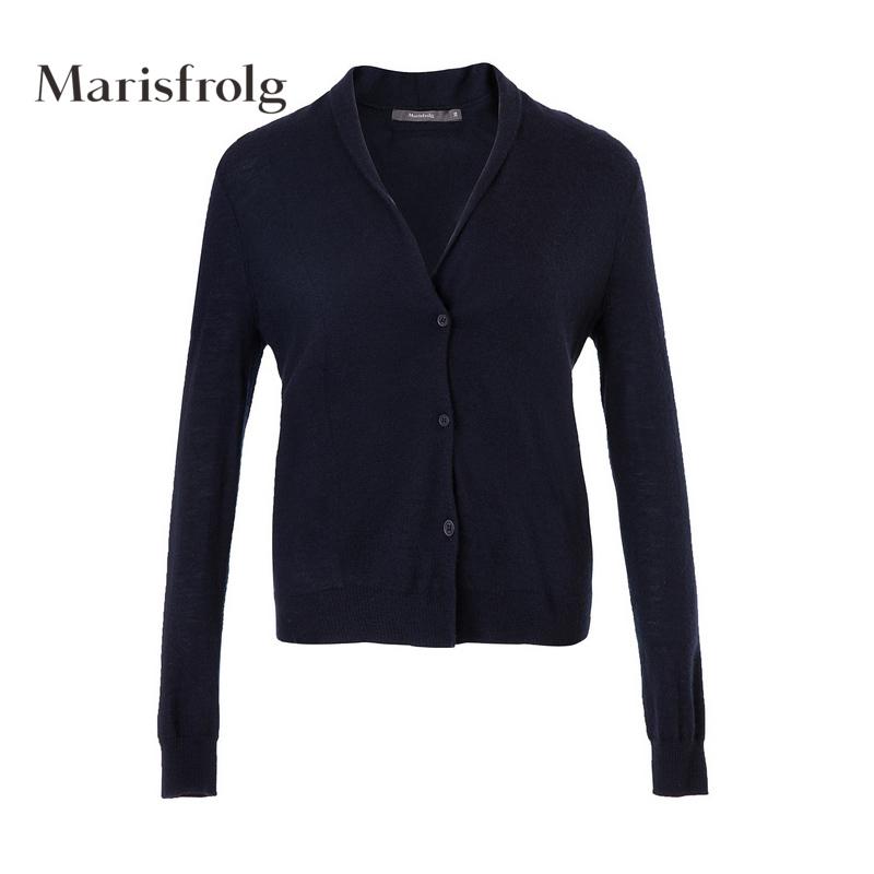 玛丝菲尔旗舰店女装时尚气质羊绒衫针织开衫纯羊绒开衫