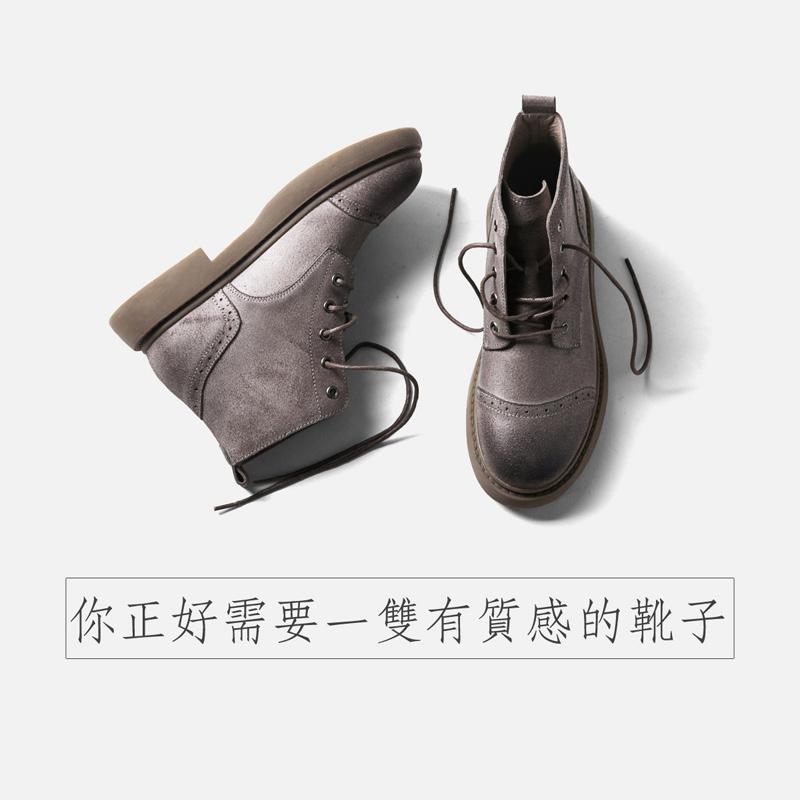 青婉田反绒靴子女短靴女真皮靴马丁靴女英伦风百搭女靴子春秋单靴