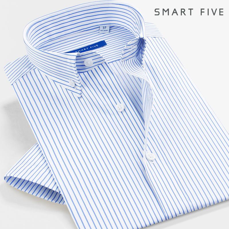 SmartFive 商务正装男短袖衬衫条纹修身全棉抗皱夏季中年大码衬衣