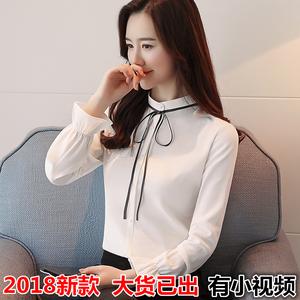 实拍2018春装新款韩版长袖雪纺衫女立领细带雪纺长袖打底衬衫